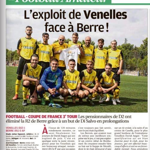 La Provence - L'exploit de l'USV face à Berre (17 Septembre 2018)