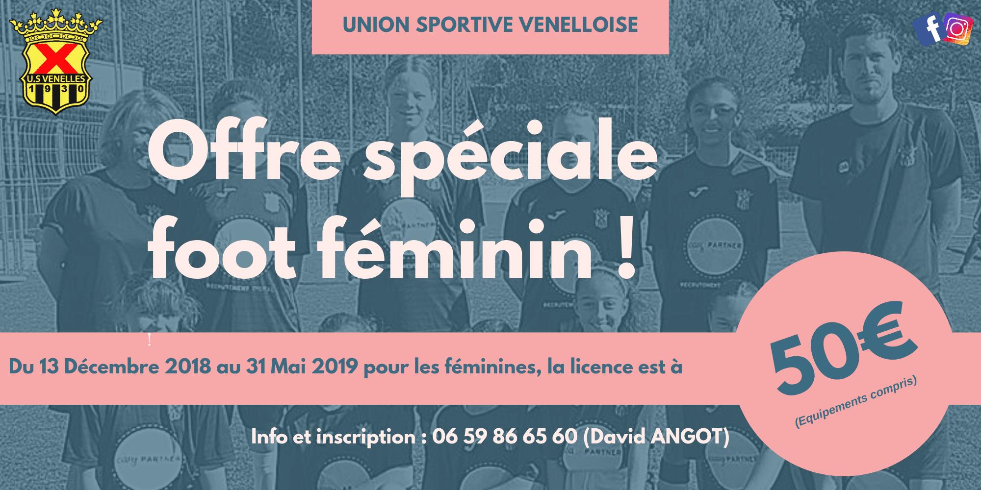 Offre spéciale Foot Féminin - USV