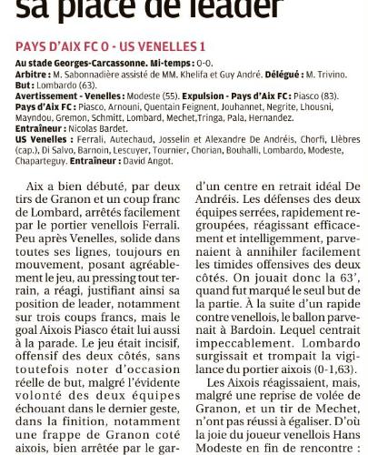 La Provence - Venelles justifie sa place de leader (21 Janvier 2019)