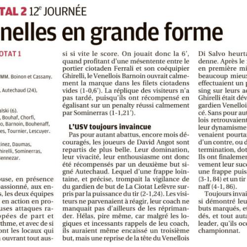 La Provence - L'US Venelles en grande forme (3 Février 2019)