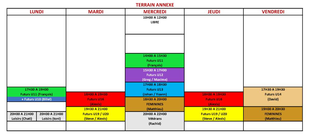 Créneaux USV (à partir du 10 Juin 2021) - ANNEXE