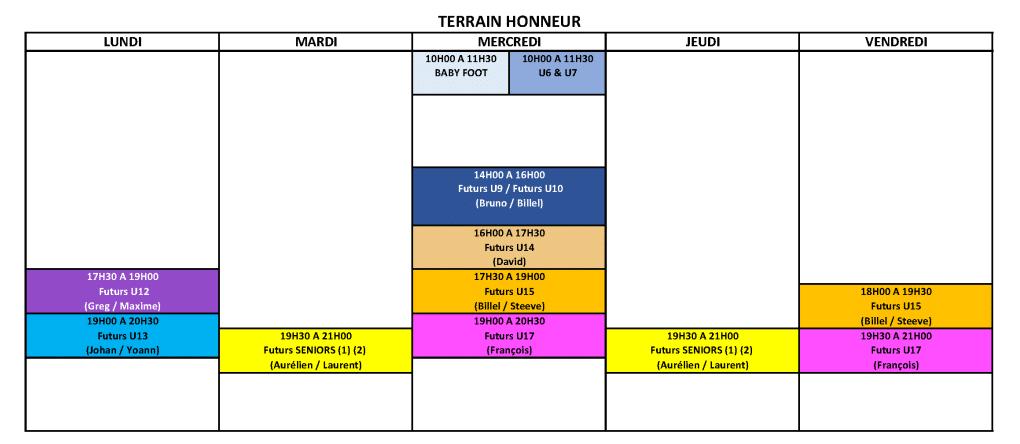 Créneaux USV (à partir du 10 Juin 2021) - HONNEUR